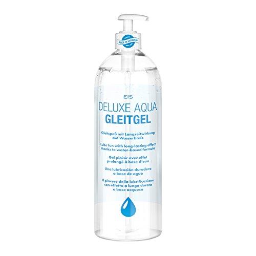 Gleitgel auf Wasserbasis, EIS Deluxe Aqua Gleitmittel mit Langzeitwirkung, neutrales Intimgel für gefühlsechtes Empfinden, transparent, 1l