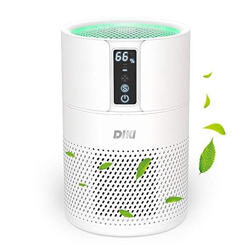 Luftreiniger DIKI Air Purifier mit HEPA-Kombifilter, Aktivkohlefilter und Ionisierer, 99,97% Filterleistung, bis zu 25M², CADR 150m³/h, für Allergiker gegen Hausstaub, Feinstaub, Pollen, Gerüche