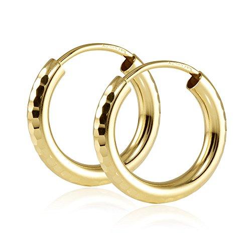 MATERIA Damen Creolen Gold 585 Ohrringe 15mm klein diamantiert mit Geschenk-Box Made in Germany #GO-8