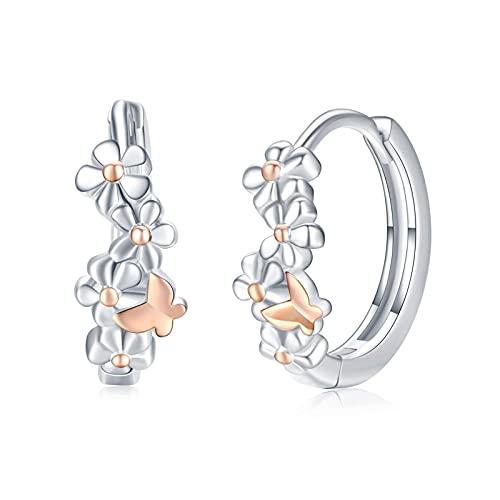 Blumen Ohrringe 925 Sterling Silber Schmetterlinge Ohrring Creolen Hypoallergene Ohrringe Blumen Schmuck Roségold Geburtstagsgeschenk für Damen Mädchen Kinder