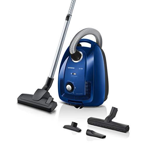 Siemens Staubsauger mit Beutel iQ300 VSC3320, Bodenstaubsauger, ideal für Allergiker, Hygiene-Filter, Bodendüse für Parkett, Teppich, Fliesen, langes Kabel, Fugendüse, 600 W, blau