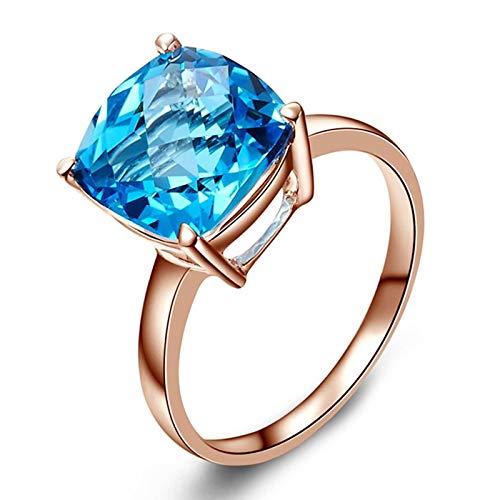 Bishilin Frauen Ring Gold 585 Echt Groß Kissen Topas 5ct Eheringe Nickelfrei Hochzeitsring Rosegold 53 (16.9)