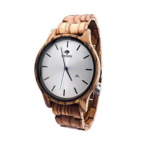 Holzuhr Herren Crown Holzarmbanduhren für Herren | Zandel Holz ideal für Allergiker | Holzuhren Männer mit japanischem Quarz-Uhrwerk, Schweizer Krone | Männeruhr Holz 50 Gramm Ziffernblatt 40 mm (397)