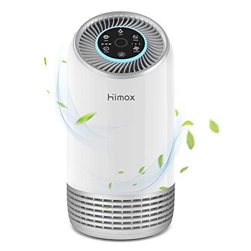 Luftreiniger Allergie HIMOX Air Purifier mit Hepa Kombifilter, Aktivkohlefilter, Leise Schlafmodus, 7 Farben Nachtlicht, 99,97% Filterleistung, Luftfilter für Raucher Allergiker gegen Pollen Staub