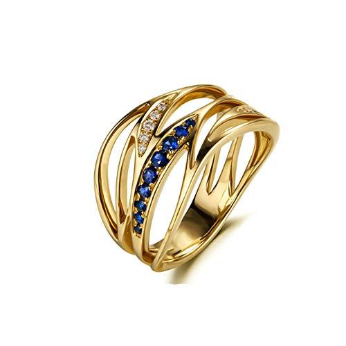 Daesar Damen Ring 18K Gold Eckig Meereswelle mit 0.12ct Saphir Ehering Nickelfrei Hochzeitsring Gold mit Diamant Große 57 (18.1)