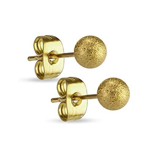 Treuheld® | Diamant-Optik Gold Kugel Ohrstecker - Goldene Edel-Stahl Ohr-Ringe mit Matter Kugel - Kugel: 3, 4, 5, 6, 7, 8, 10 mm - sandgestrahlt - Männer & Frauen - Steck-Verschluss - [01.] - 3mm