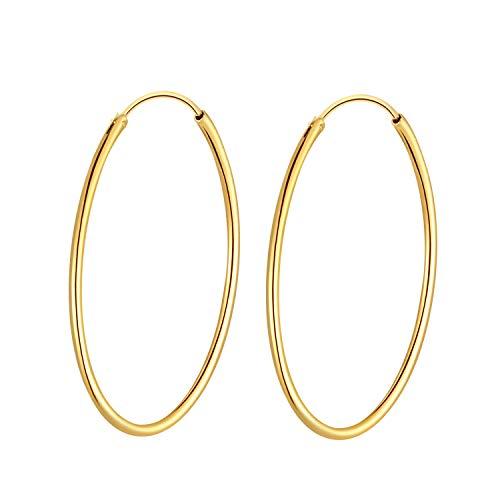 T400 Creolen Silber 925 Vergoldet Ohrringe Damen Groß Kreolen Schlafohrring für Frauen Mädchen,Durchmesse:20 30 40 50 60 mm