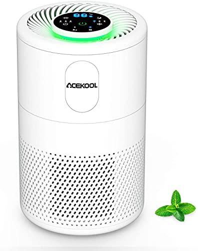 Luftreiniger Acekool D02 Air Purifier für Allergiker Raucher Luftreiniger Allergie mit H13 HEPA&Aktivkohlefilter, 4 Lüfterstufen 99,97% Filterleistung Leiser Betrieb gegen Staub Pollen Tierhaare