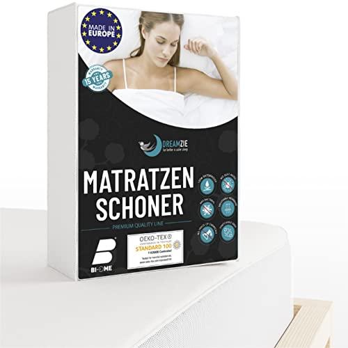 Dreamzie - Matratzenschoner 160 x 200 cm Wasserdicht - Atmungsaktive Matratzenauflage 100% Baumwolle - Moltonauflage Anti-Allergie gegen Milben im Bett Mehr Hygiene - 15 Jahre Garantie