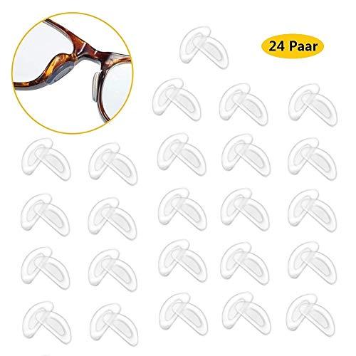 Voarge 24 Paar Brille Nasenpads Weiche Silikon Nasenpads Rutschfeste Selbstklebende Nasenpads, Klebe Nasen Pads Brille Nasen Pad, für Brillen Sonnenbrillen (Transparent)