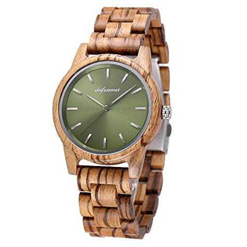 Holzuhr Damen, Minimalistisch Holzuhr für Damen Holz-Uhr Analog Quarzuhr Armbanduhren Damen mit Geschenkbox S5551W
