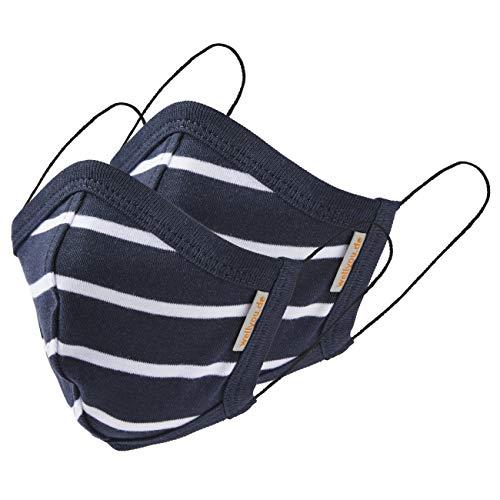 wellyou 2er Set Kinder und Erwachsene Masken, Mundschutzmaske, gesicht mask, face mask aus 100% Baumwolle Gr. (M) 5 bis 10 Jahre; (L) ab 11 Jahre (marine weiss, L (ab 11 Jahre))
