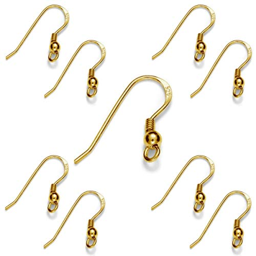 My-Bead 5 Paar Damen Ohrhänger Gold 18mm 925 Sterling Silber 24K vergoldet in Juweliers- Qualität DIY