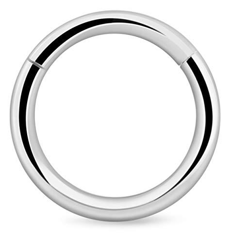 Crazy Factory Segment Ring Clicker 1,2mm mit Scharnier aus Chirurgenstahl | 8mm + Piercing + Segmentring + Helix Tragus Daith + Günstig + Top Qualität + Nickelfrei + Stahl
