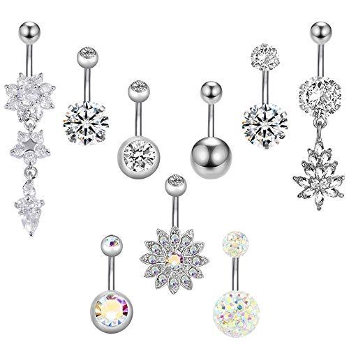 9 Stück Edelstahl Zirkon Bauchnabel Bauchnabelpiercing Bauch Piercing Nabelring Schmuck für Damen,9 Stile (Silber) MEHRWEG