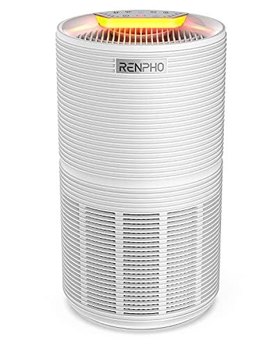 RENPHO Luftreiniger mit Luftqualitätsanzeige bis zu 88㎡, Raumluftreiniger mit 26dB Schlafmodus Nachtlicht Timer Filterwechselalarm, H13 HEPA Air Purifier für Allergiker Raucher Pollen Staub