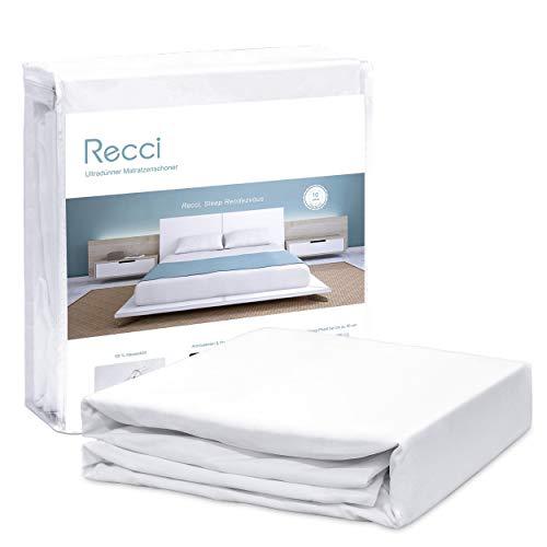RECCI Wasserdichter Matratzenschoner 100 x 200 cm, Anti-Milben und -Bakterien Matratzenauflage, maschinenwaschbarer Matratzenbezug für alle Allergiker, Inkontinenzauflage in verschiedenen Größen