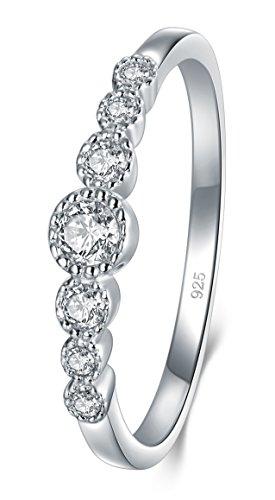 BORUO Damenring Hochzeitsringe Eheringe Verlobungsring Trauringe Zirkonia CZ Band Ewigkeitsring Silberring in 925 Sterling Silber Größe 65 (20.7mm)