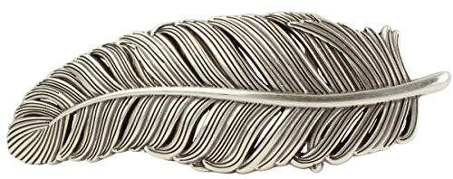 Gürtelschnalle Grand Feder 4,0 cm | Buckle Wechselschließe Gürtelschließe 40mm Massiv | Wechselgürtel bis 4cm | Silber