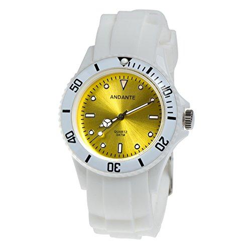 Andante Sportliche wasserdichte Unisex Armbanduhr Silikon Uhr Quarz 3ATM Weiss GELB AS-5007