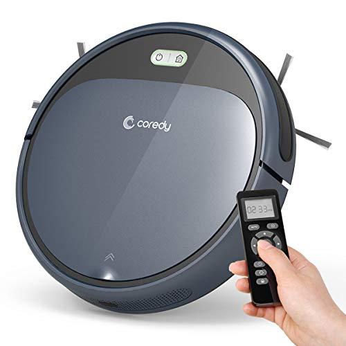 Coredy R300 Saugroboter mit Ladestation und Fernbedienung,110Min Arbeitszeit, Automatischer Staubsauger Roboter,Superchlank, Extrem Leise Roboterstaubsauger für Tierhaare, Hartböden und Teppiche