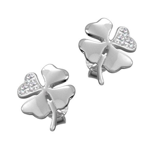 Vinani Ohrstecker Kleeblatt glänzend mit Zirkonia Sterling Silber 925 Glücksbringer Blume Ohrringe OKB