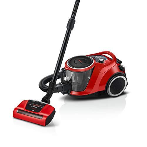 Bosch Staubsauger mit Beutel Serie 6 BGC41PET, Bodenstaubsauger, ideal für Tierhaare und Allergiker, Hygiene-Filter, für Parkett, Teppich, Fliesen, leise, Parkett-Düse, 600 W, rot