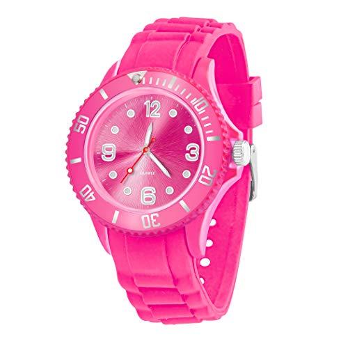 Taffstyle Farbige Sportuhr Armbanduhr Silikon Sport Watch Damen Herren Kinder Analog Quarz Uhr 43mm Pink