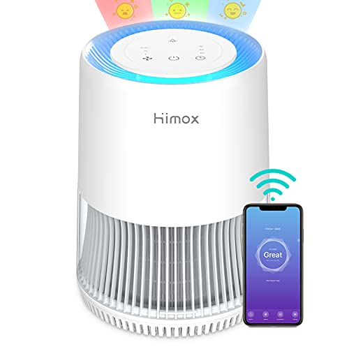 Luftreiniger Allergie mit App Steuerung HIMOX Air Purifier, CADR 190m³/h, bis zu 49m², H13 HEPA Luftfilter, Luftreiniger für Allergiker Raucher, mit Smart Luftqualität Sensor, gegen Pollen Staub