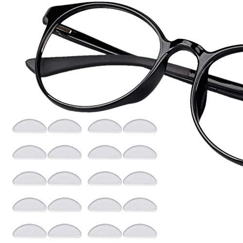 Nasenpads für Brille, selbstklebend, 12 Paar, zum Ankleben, weiche Silikon-Nasenpads rutschfest, transparent, Gel-Kissen, 1 mm Brillenpads für Sonnenbrillen, Brillen