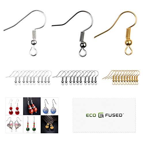 Eco-Fused - 18mm Ohrhaken - 200 Stk. - Nickelfreie Ohrhaken im Spulen- und Kugelstil - Versilberter Stahl - ideal für DIY-Ohrringe (Gold/Silber/Schwarz, 300pcs)