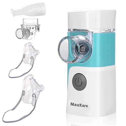 Inhalator Vernebler, MaxKare Tragbar Inhaliergerät Geräuscharmer Inhalationsgerät, Inhalator mit Musik-Funktion,für Atemwegserkrankungen,Mehrweg