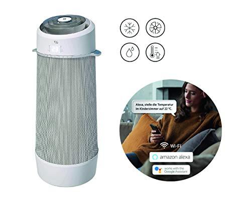 AEG PX71-265WT Eco mobiles Klimagerät / spiralförmiger Luftstrom / App-Steuerung / Spracherkennung / Fernbedienung / Fenster-Kit / Kühlen / Heizen / Ventilator / Entfeuchten / Automatik / weiß, silber