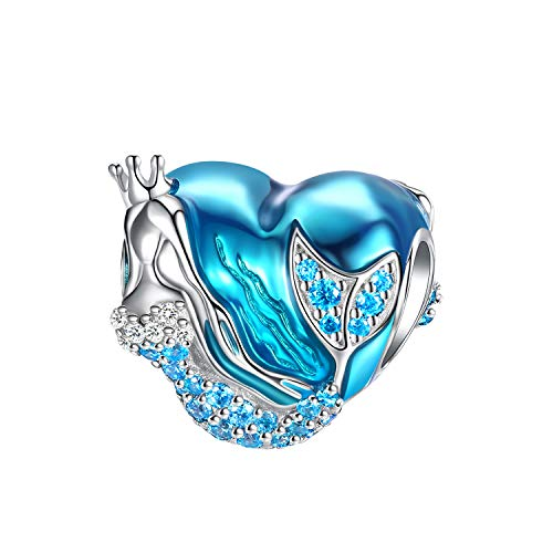 FOREVER QUEEN Damen Herz Mom Meerjungfrau Charms Anhänger für Armbänder 925 Sterling Silber Charm Bead Herzform Blaue Charm Perfektes Muttertagsgeschenk Mit Geschenkbox