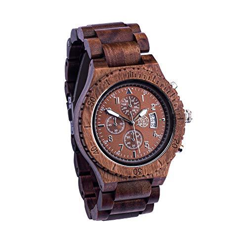 Greenwatch Holzuhr Timer Brown - Herren Holzuhr Analog Quarzuhr - Braunes Ebenholz - Herrenholzuhr mit Datumsanzeige und Zier Chronograph - Herren Armbanduhr aus Holz - Leichte Herren Uhr