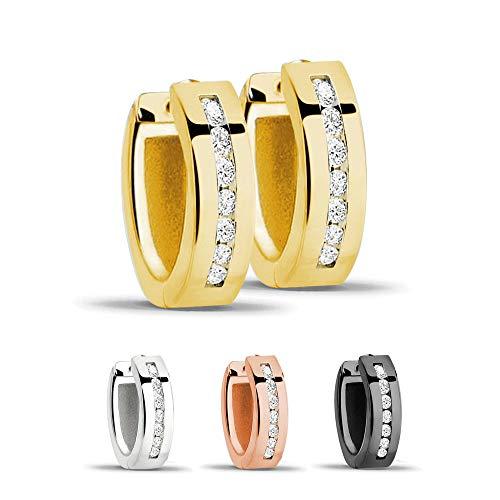 Treuheld® | Creolen/Ohrringe aus 925 Sterling Silber | 4mm x 13mm | Gold mit Glitzer - Kristallen | Klappcreolen für Damen | Set Paar
