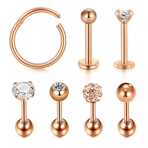 AVYRING 16G Helix Piercing Chirurgenstahl Tragus Cartilage Rook Piercing Stud Ohr Piercing Nase Lippe Ringe Piercing Septum 7 Stück - Rose Gold