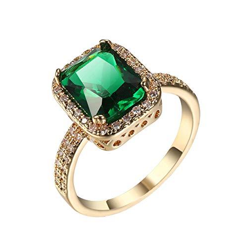 Bishilin Eheringe Vergoldet für Frauen, Trauring mit Rechteck Grün Zirkonia Partnerring Nickelfrei Hochzeitsring Gold Größe 57 (18.1)