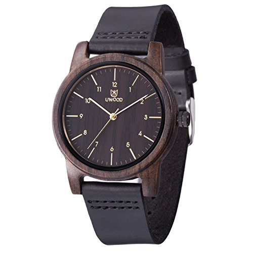 MUJUZE Holzuhr Herren Damen Analoge Holzuhren mit Leder Armband Holz-Armbanduhr Klassik Männer Uhr(Black)