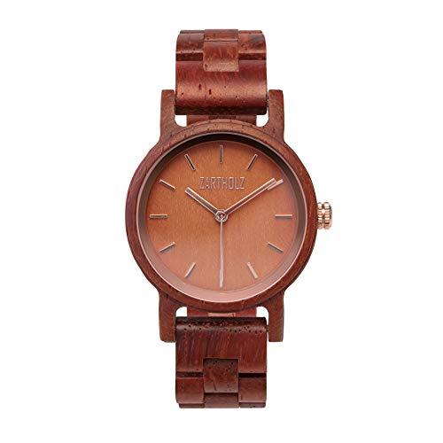 ZARTHOLZ Herren Damen Unisex Holzuhr Holz-Armbanduhr Klassik (Rosenholz Rot Roségold Damen)