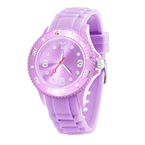 Taffstyle Farbige Sportuhr Armbanduhr Silikon Sport Watch Damen Herren Kinder Analog Quarz Uhr 43mm Flieder