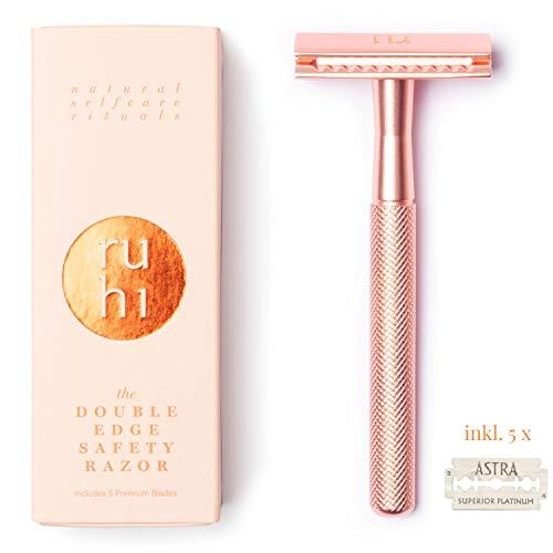 ruhi® Premium Designer Rasierhobel Damen rosé gold Messing nachhaltig mit 5 ASTRA Rasierklingen Zero Waste| plastikfreier Rasierer Damen |Safety Razor