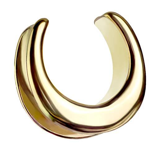 Halbrunder Flesh Tunnel Ohr Plug Piercing Sattel Spreader Halbrund Creole Stretcher Ohrring Ohrpiercing Stahl Tribal Gold 10mm