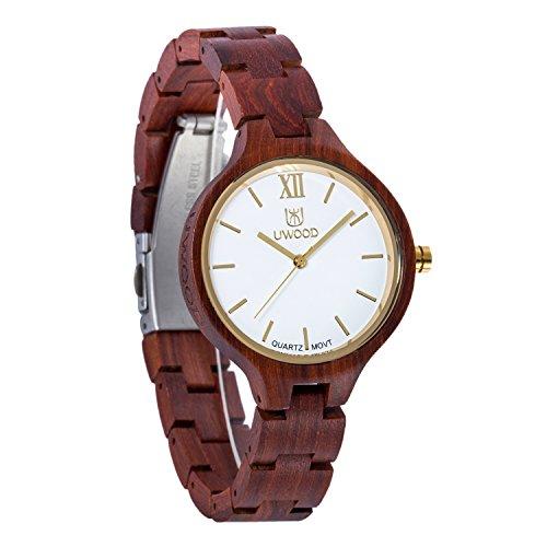 Damen holzuhr-UWOOD Luxus Handgemachte Holzuhr 35mm Natürliches Holz Analog Quarz Armbanduhr Frauen Uhren(Rotes Sandolholz) …