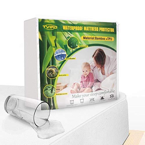 Tvird Wasserdichter Matratzenschoner 140x200cm Atmungsaktive Matratzenauflage | Anti-Allergisch | Anti-Milben Matratzenbezug | Wasserundurchlässiger Matratzen-Schutz Matratzenbezug mit Nässeschutz