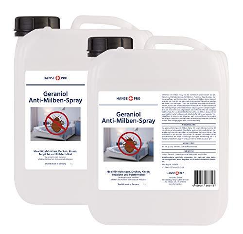 Hanse Pro Geraniol Anti-Milben-Mittel, 2 x 5 Liter Kanister I Hausstaub-Milben-Spray I Milbenschutz I hochwirksames Spray gegen Milben & Bettwanzen I Hausstaubmilben-Allergie I Milben-Bekämpfung