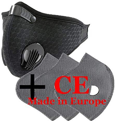 Set Maske Gesichtsmaske atmungsaktiv Anti-Staub mit 3 Filtern mit 5 Schichten Filter, Unisex Masken Laufen, Staubschutz Radfahren, Reflektierende Sicherheitsmaske Outdoor CE 4sold, schwarz