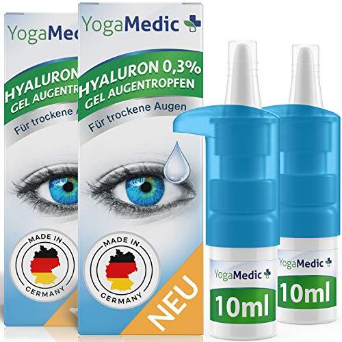 Augentropfen gegen trockene, rote, müde Augen mit Hyaluron [NEU2021] leichte Gel-Konsistenz, unkonserviert - YogaMedic® Made in Germany 2x 10ml Kontaktlinsen geeignet