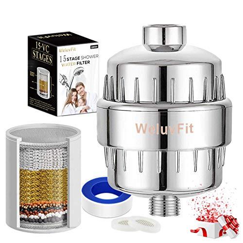 Duschfilter Shower Filter 15-Schichten Universeller Wasserfilter Zum Entfernen von Chlor und Schwermetallen - Austauschbares Filterelement und Passt auf Jeden Duschkopf