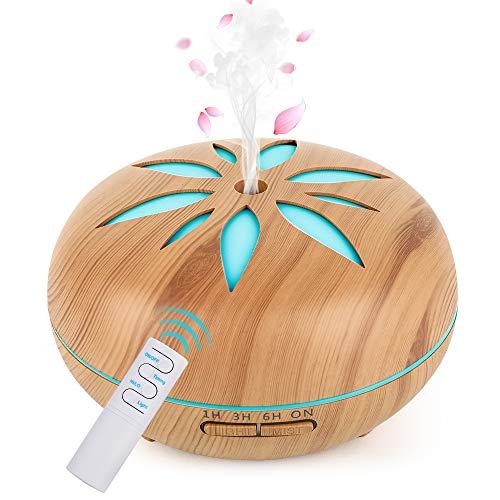 GeeRic Aroma Diffuser, 550ML Luftbefeuchter Ultraschall Vernebler,Raumbefeuchter Aromatherapie Öle Duftlampe mit 7 Farben LED Helles Holz